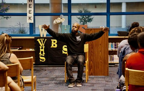 Tyson Amir empowers BSU with his poetry in the library. Photo by Jonah Guerrero.