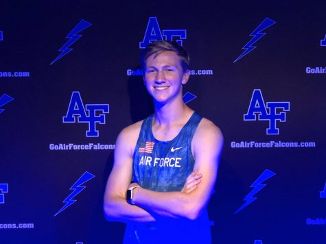 Senior Brandon Lindner poses during his signing party for the USAFA track program. Photo courtesy of Lindner.